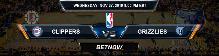Los Angeles Clippers vs Memphis Grizzlies 11-27-2019 NBA Odds and Prediction