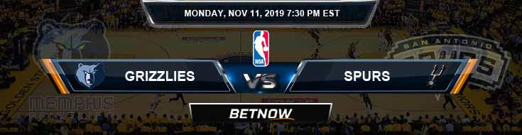 Memphis Grizzlies vs San Antonio Spurs 11-11-2019 NBA Spread and Picks