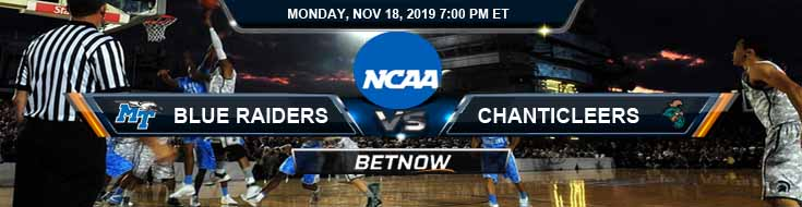 Middle Tennessee Blue Raiders vs Coastal Carolina Chanticleers 11-18-2019 Spread Previews and Picks