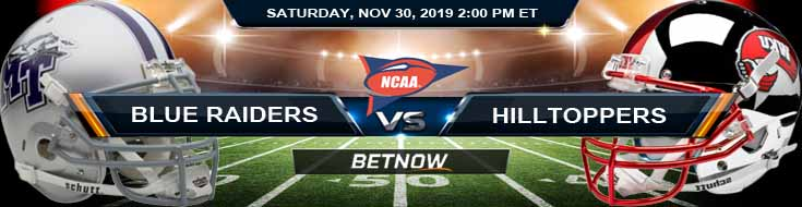 Middle Tennessee Blue Raiders vs Western Kentucky Hilltoppers 11-30-2019 Online Sportsbooks Predictions and Odds