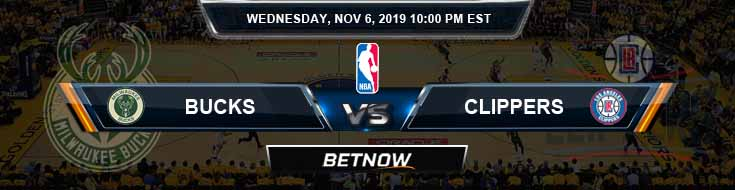 Milwaukee Bucks vs Los Angeles Clippers 11-06-2019 NBA Spread and Picks