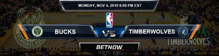 Milwaukee Bucks vs Minnesota Timberwolves 11-04-2019 NBA Odds and Picks