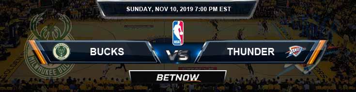 Milwaukee Bucks vs Oklahoma City Thunder 11-10-2019 NBA Odds and Picks