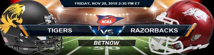 Missouri Tigers vs Arkansas Razorbacks 11-29-2019 Football Betting Free Bets and Previews