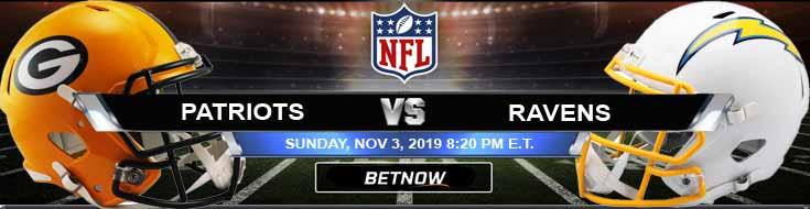 New England Patriots vs Baltimore Ravens 11-03-2019 Picks Odds and Previews