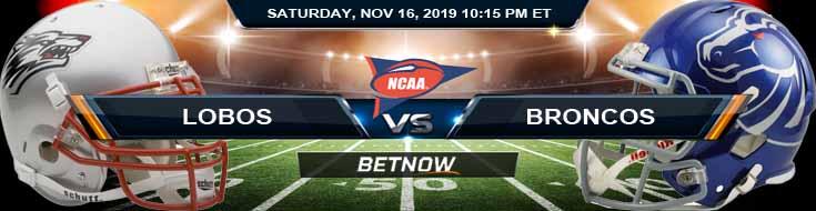 New Mexico Lobos vs Boise State Broncos 11-16-2019 Picks Odds and Previews