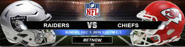 Oakland Raiders at Kansas City Chiefs 12-01-2019 Predictions Picks and Odds