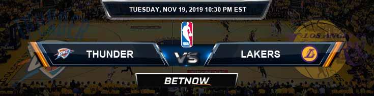 Oklahoma City Thunder vs Los Angeles Lakers 11-19-2019 NBA Odds and Picks