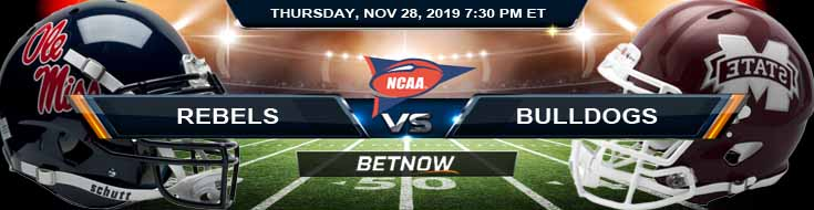 Ole Miss Rebels vs Mississippi State Bulldogs 11-28-2019 Picks Predictions and Preview