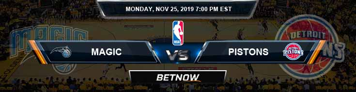 Orlando Magic vs Detroit Pistons 11-25-2019 Spread Previews and Prediction