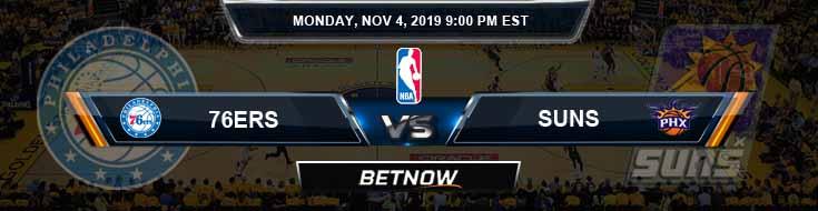 Philadelphia 76ers vs Phoenix Suns 11-04-2019 NBA Picks and Prediction
