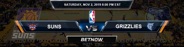 Phoenix Suns vs Memphis Grizzlies 11-02-2019 NBA Spread and Previews