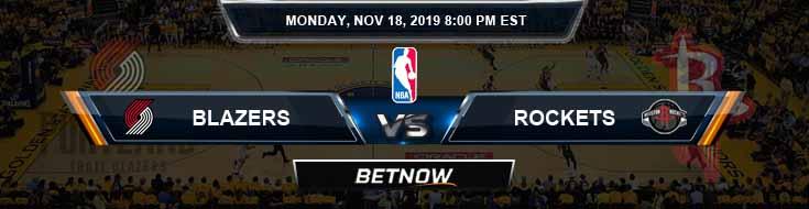 Portland Trail Blazers vs Houston Rockets 11-18-2019 Spread Odds and Picks