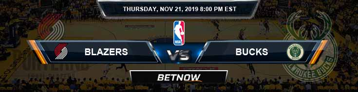 Portland Trail Blazers vs Milwaukee Bucks 11-21-2019 NBA Odds and Picks