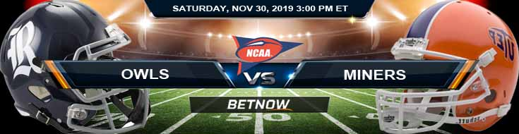 Rice Owls vs UTEP Miners 11-30-2019 Game Analysis Predictions and Odds