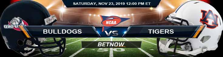 Samford Bulldogs vs Auburn Tigers 11-23-2019 Spread Odds and Picks