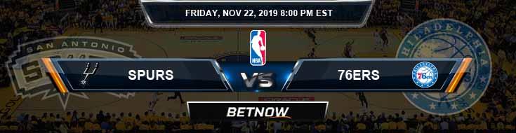 San Antonio Spurs vs Philadelphia 76ers 11-22-2019 NBA Odds and Picks