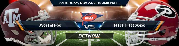 Texas A&M Aggies vs Georgia Bulldogs 11-23-2019 Picks Odds and Previews
