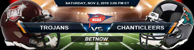 Troy Trojans vs Coastal Carolina Chanticleers 11-02-2019 Picks Predictions and Previews
