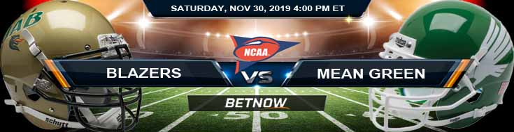 UAB Blazers vs North Texas Mean Green 11-30-2019 Odds Game Analysis and Picks