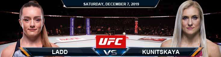 UFC on ESPN 7 Ladd vs Kunitskaya 12-07-2019 Spread Picks and Odds