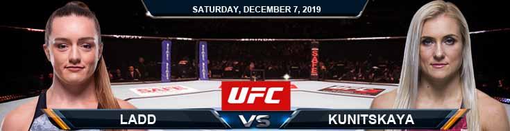 UFC on ESPN 7 Ladd vs Kunitskaya 12-07-2019 Spread Picks and Odds