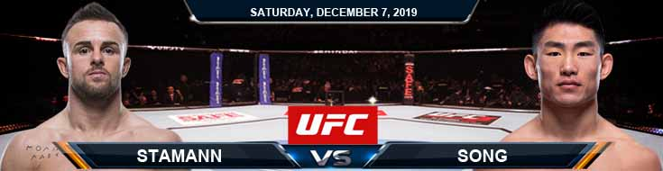 UFC on ESPN 7 Stamann vs Song 12-07-2019 Odds Predictions and Spread