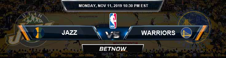 Utah Jazz vs Golden State Warriors 11-11-2019 NBA Spread and Previews