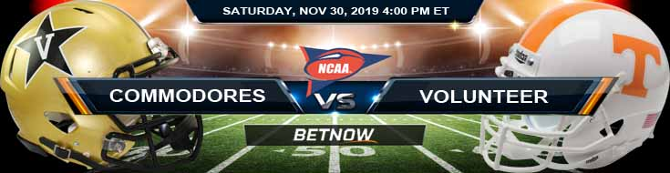 Vanderbilt Commodores vs Tennessee Volunteers 11-30-2019 Preview Odds and Predictions
