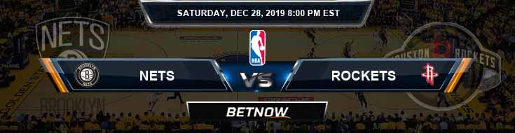 Brooklyn Nets vs Houston Rockets 12-28-2019 Odd Picks and Previews