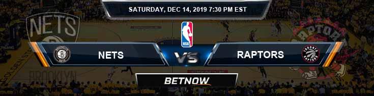 Brooklyn Nets vs Toronto Raptors 12-14-19 Odds Spread and Prediction