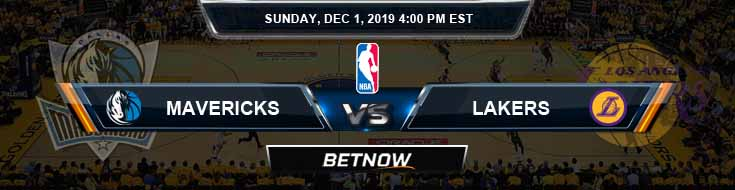 Dallas Mavericks vs Los Angeles Lakers 12-01-2019 Odds Spread and Picks