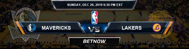 Dallas Mavericks vs Los Angeles Lakers 12-29-2019 Odds Picks and Previews