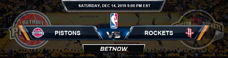 Detroit Pistons vs Houston Rockets 12-14-19 Spread Picks and Prediction