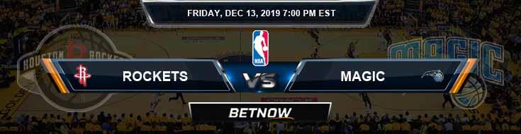 Houston Rockets vs Orlando Magic 12-13-19 Spread Picks and Previews