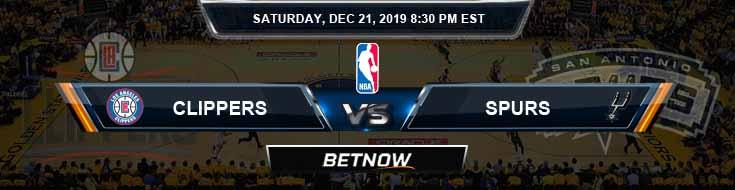 Los Angeles Clippers vs San Antonio Spurs 12-21-19 NBA Picks and Previews