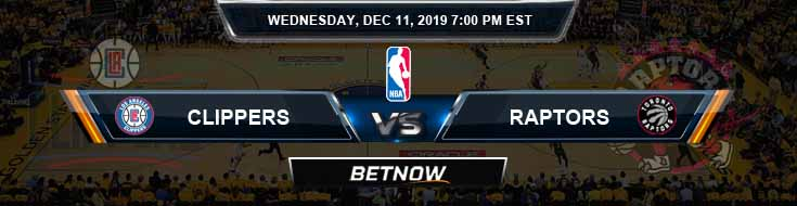 Los Angeles Clippers vs Toronto Raptors 12-11-19 NBA Odds and Prediction
