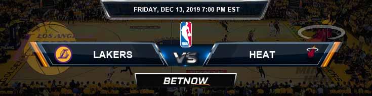 Los Angeles Lakers vs Miami Heat 12-13-19 NBA Previews and Prediction