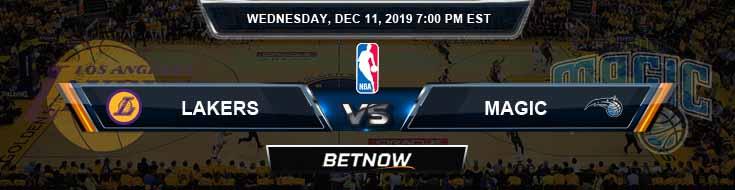 Los Angeles Lakers vs Orlando Magic 12-11-19 Odds Picks and Previews