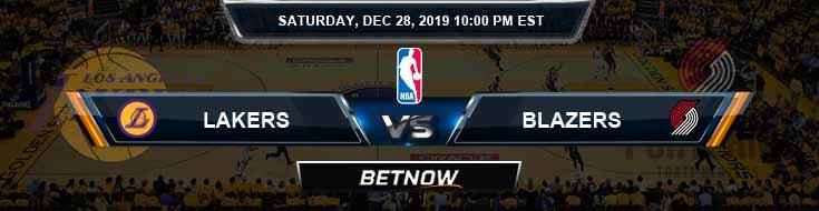 Los Angeles Lakers vs Portland Trail Blazers 12-28-2019 NBA Odds and Picks