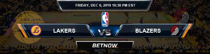 Los Angeles Lakers vs Portland Trailblazers 12-6-19 NBA Odds and Picks