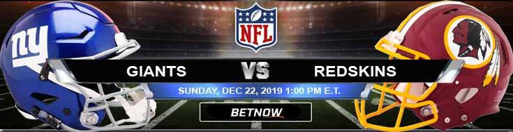 New York Giants vs Washington Redskins 12-22-2019 Predictions Spread and Picks