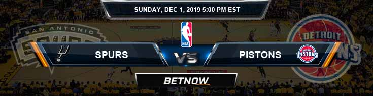 San Antonio Spurs vs Detroit Pistons 12-01-2019 Odds Spread and Picks