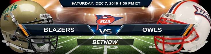 UAB Blazers vs Florida Atlantic Owls 12-07-2019 Odds Picks and Predictions