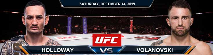 UFC 245 Max Holloway vs Alexander Volkanovski 12-14-2019 Odds Spread and Picks