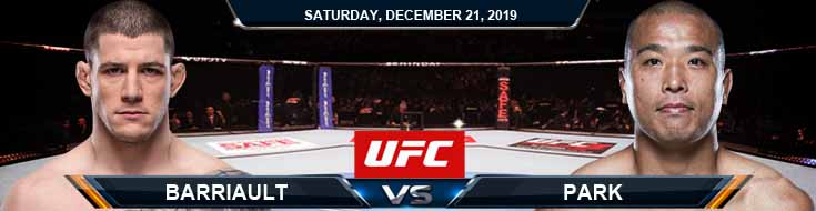 UFC Fight Night 165 Jun Yong Park vs Mark-Andre Barriault 12-21-2019 Odds Spread and Predictions