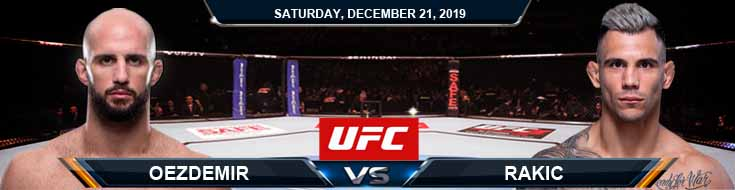 UFC Fight Night 165 Volkan Oezdemir vs Aleksandar Rakic 12-21-2019 Odds Picks and Predictions