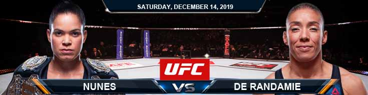 UFC on ESPN+ Nunes vs de Radamie 12-14-2019 Picks Odds and Game Analysis