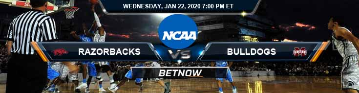 Arkansas Razorbacks vs Mississippi State Bulldogs 01-22-2020 Picks Predictions and Previews