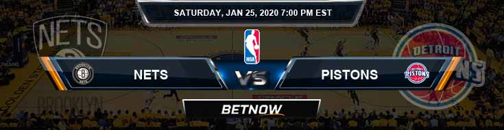 Brooklyn Nets vs Detroit Pistons 1-25-2020 Spread Picks and Prediction